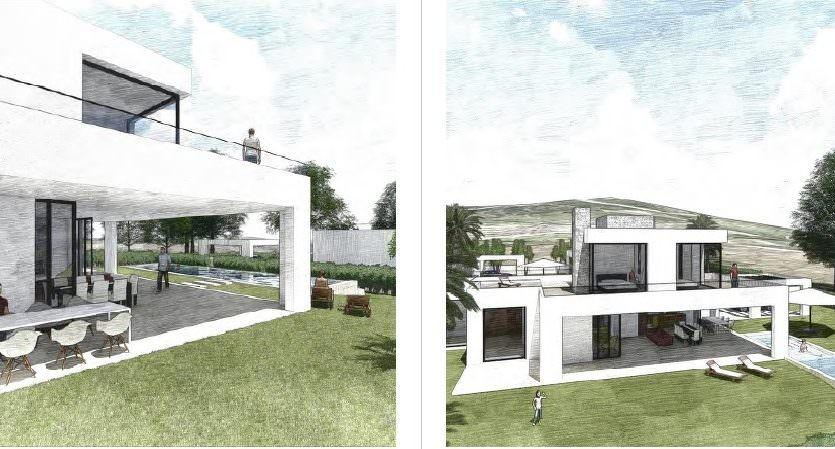 Modern villas with sea and golf views