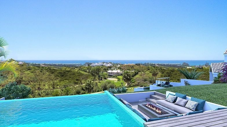 Modern villas with sea and golf views.