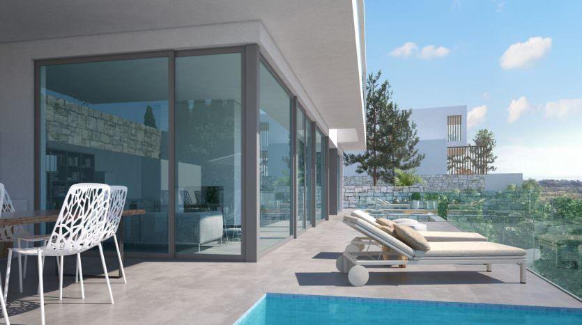Modern villa with sea and mountain views